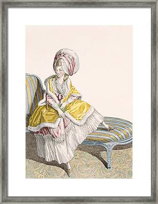 Lady In Morning Gown In Lemon And Pink Framed Print by Claude Louis Desrais