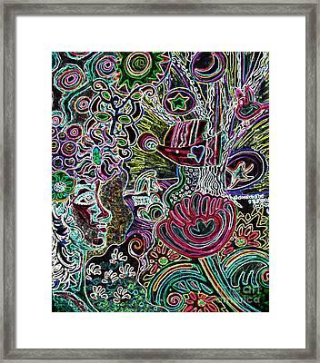 Lady In Neon Landscape Framed Print