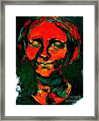 Lady In Orange Framed Print by Michelle Dommer