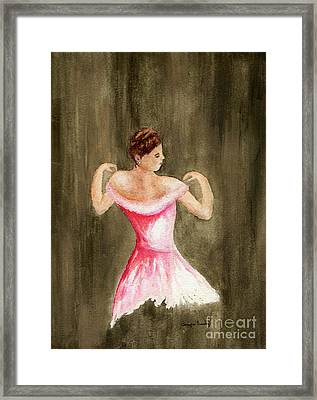 Framed Print featuring the painting Lady In Pink by Tamyra Crossley