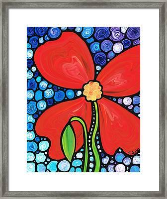 Lady In Red 2 - Buy Poppy Prints Online Framed Print by Sharon Cummings