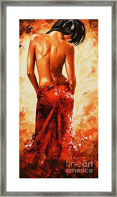 Lady In Red 27re Large  Framed Print by Emerico Imre Toth