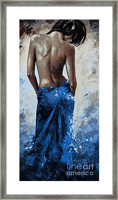 Lady In Red 27re Blue Color Version Large Framed Print