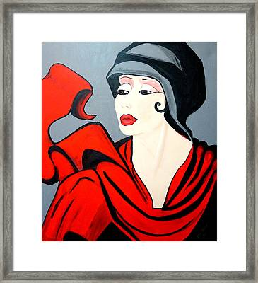 Lady In Red  Art Deco Framed Print