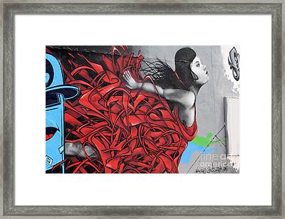 Lady In Red Framed Print by Chuck  Hicks