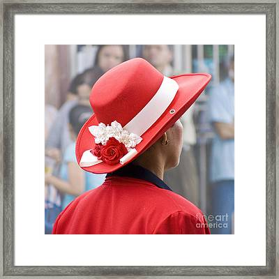 Lady In Red Framed Print by Heiko Koehrer-Wagner