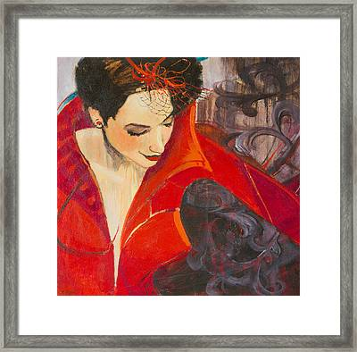Lady In Red Framed Print by Jennifer Croom
