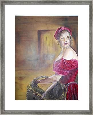 Lady In Red Framed Print by Joyce Reid