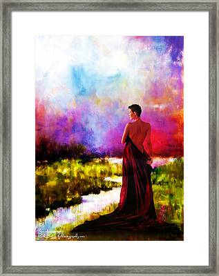 Lady In Red Framed Print by Rick Buggy