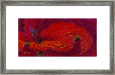 Framed Print featuring the painting Lady In Red by Sandi Whetzel
