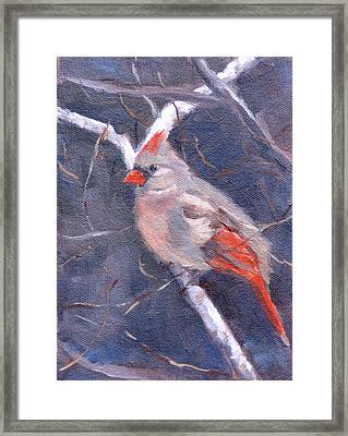 Lady In Red Framed Print by Sandra Harris