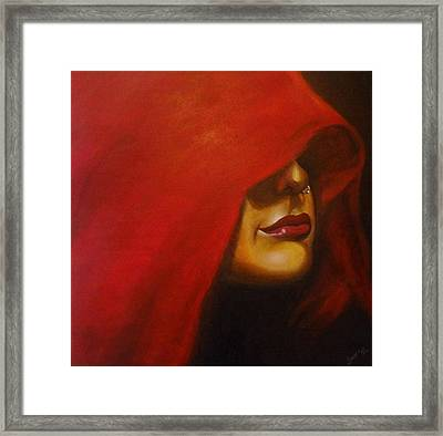 lady in Red Framed Print by Sheetal Bhonsle