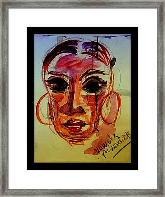 Lady In Red - Silent Tears Framed Print