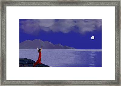 Lady In Red Framed Print by Tony Rodriguez