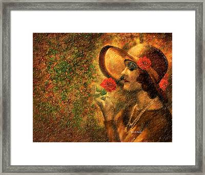 Lady In The Flower Garden Framed Print by Angela A Stanton