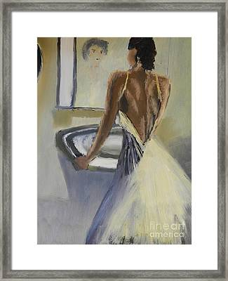 Framed Print featuring the painting Lady In The Mirror by Pamela  Meredith