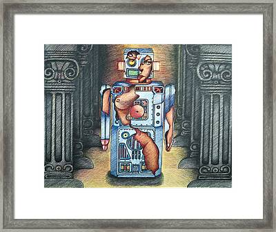 Lady In The Robot Framed Print by Larry Butterworth