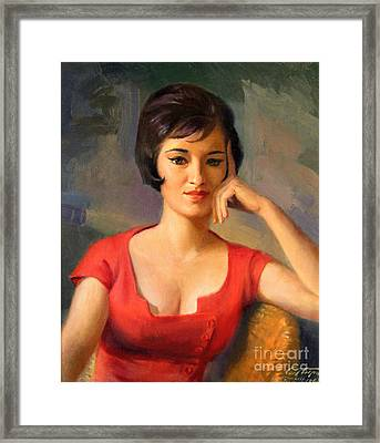 Lady In Thought Framed Print