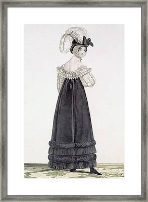 Lady In Velvet Morning Dress Framed Print by Antoine Charles Horace Vernet