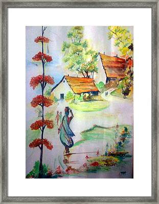 Lady In Village Carrying Water - Close To Nature Framed Print by Tanaya Chaudhuri