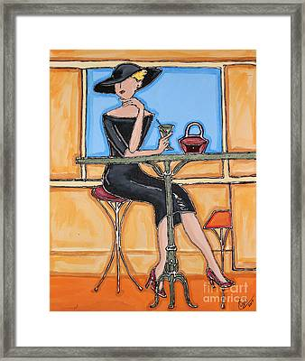 Lady In Waiting With Martini Framed Print