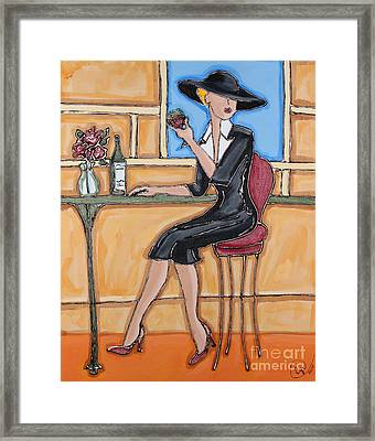 Lady In Waiting With Wine Framed Print