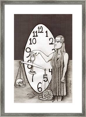 Lady Justice And The Handless Clock Framed Print by Richie Montgomery