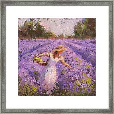 Woman Picking Lavender In A Field In A White Dress - Lady Lavender - Plein Air Painting Framed Print by Karen Whitworth
