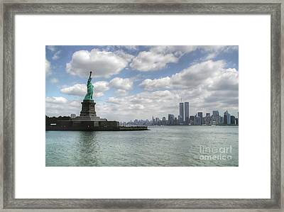 Lady Liberty And New York Twin Towers Framed Print
