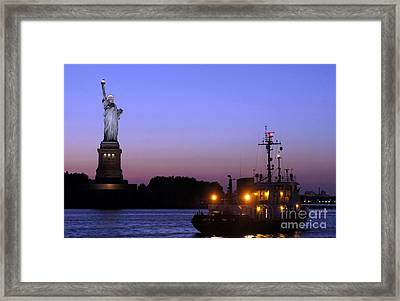 Framed Print featuring the photograph Lady Liberty At Dusk by Lilliana Mendez