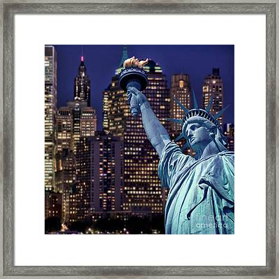 Lady Liberty By Night Framed Print by Delphimages Photo Creations