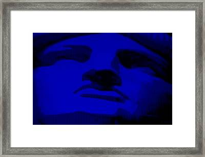 Lady Liberty In Blue Framed Print by Rob Hans