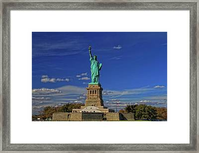 Lady Liberty In New York City Framed Print by Dan Sproul