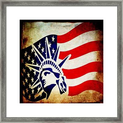 Lady Liberty Keeps Watch Framed Print