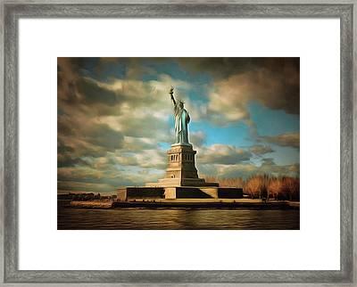 Lady Liberty The Statue- Nyc Framed Print by Georgiana Romanovna