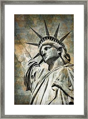 Lady Liberty Vintage Framed Print by Delphimages Photo Creations
