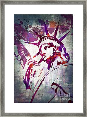 Lady Liberty Watercolor Framed Print by Delphimages Photo Creations