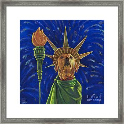 Lady Liberty - Yellow Framed Print by Kathleen Harte Gilsenan