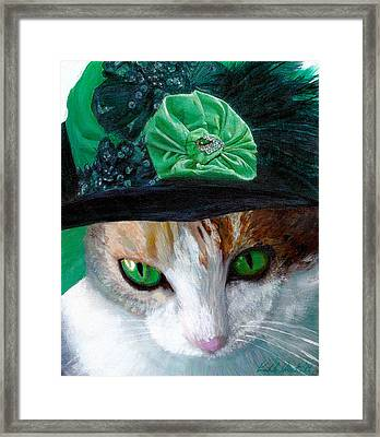 Lady Little Girl Cats In Hats Framed Print