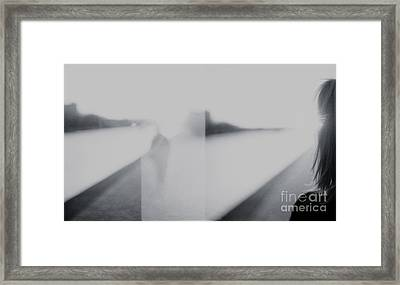 Lady Looking At Man Analog 35mm Black And White Lomo Film Photo Framed Print by Edward Olive