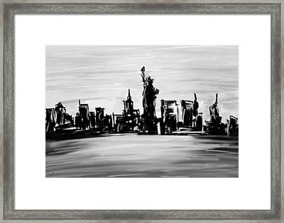Lady Of New York- Black And White Framed Print by Lourry Legarde