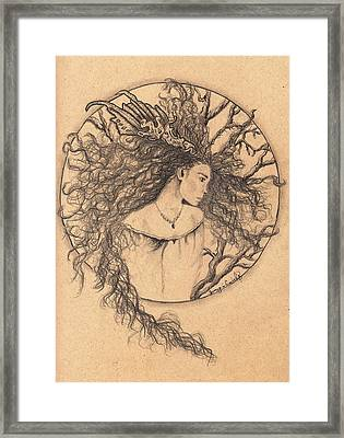 Framed Print featuring the drawing Lady Of The Forest by Tamyra Crossley