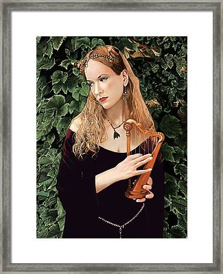 Lady Of The Harp Framed Print by Andrew Harrison
