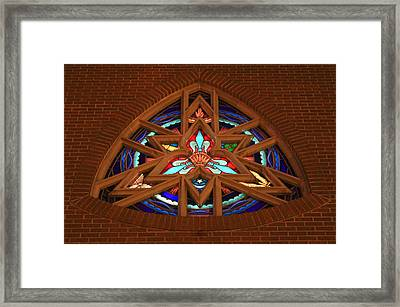Lady Of The Lake Stained Glass Window Framed Print