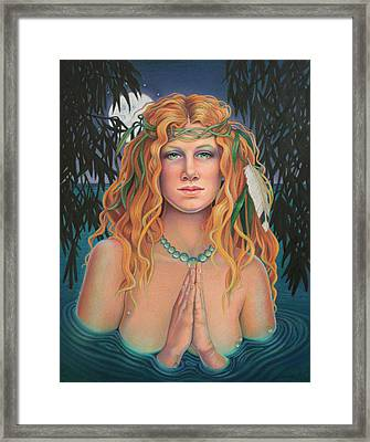 Lady Of The Willows Framed Print by Susan Helen Strok