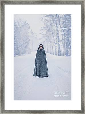 Lady Of The Winter Forest Framed Print by Evelina Kremsdorf
