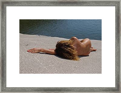 Lady On A Rock Framed Print by Rick Olson