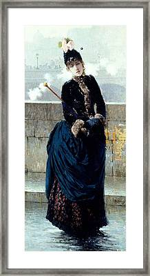 Lady On Bridge In Paris Framed Print