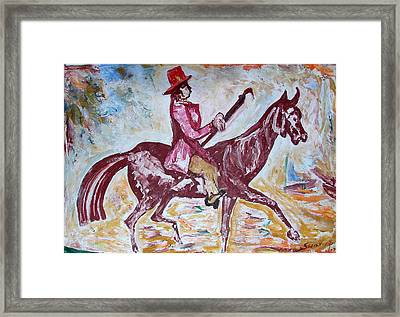 Framed Print featuring the painting Lady On Horse by Anand Swaroop Manchiraju