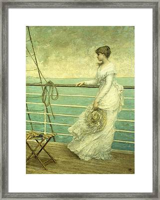 Lady On The Deck Of A Ship  Framed Print by French School